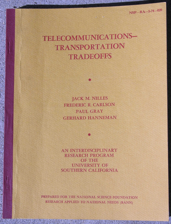 Photo of the cover of the 1974       report: The Telecommunications-Transportation Tradeoff